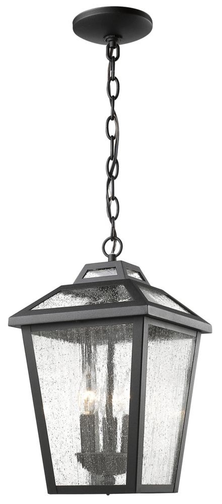 Filament Design 3-Light Black Outdoor Pendant with Clear Seedy Glass - 9 inch