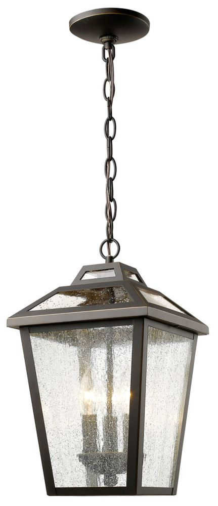Filament Design 3-Light Oil Rubbed Bronze Outdoor Pendant with Clear Seedy Glass - 9 inch