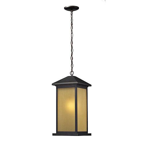 Filament Design 1-Light Oil Rubbed Bronze Outdoor Pendant with Tinted Seedy Glass - 9 inch