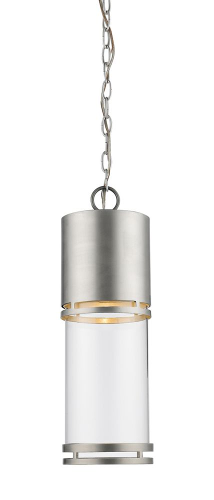 Filament Design 1-Light Brushed Aluminum Shade Outdoor Pendant with Clear Glass - 5.88 inch
