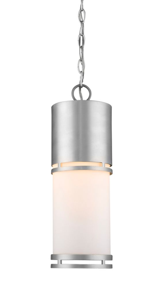 Filament Design 1-Light Brushed Aluminum Shade Outdoor Pendant with Matte Opal Glass - 5.88 inch