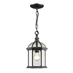 1-Light Black Outdoor Pendant with Clear Beveled Glass - 8 inch