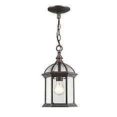 Luminaire suspendu d'extérieur à 1 ampoule rouille avec verre biseauté transparent