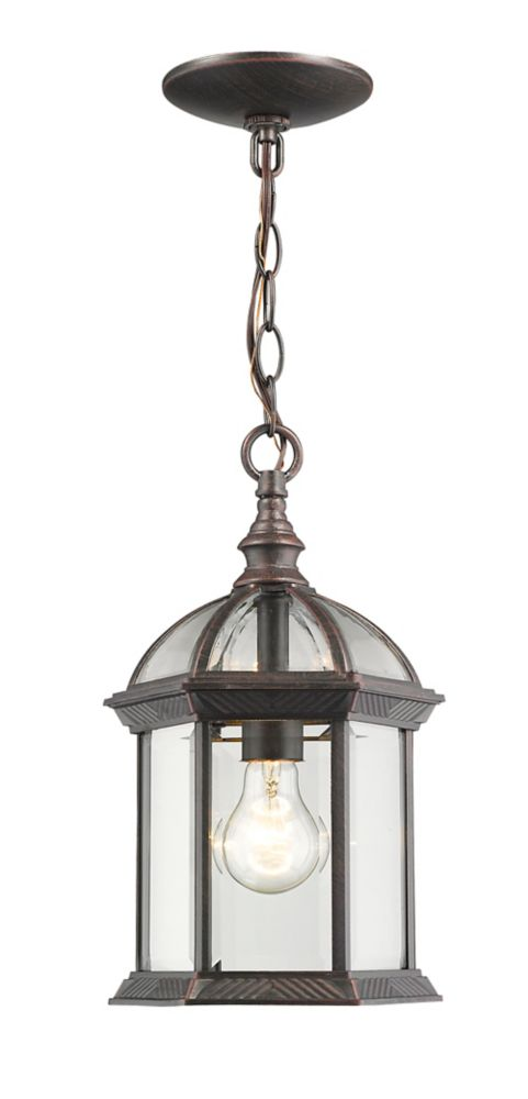Filament Design 1-Light Rust Outdoor Pendant with Clear Beveled Glass - 8 inch