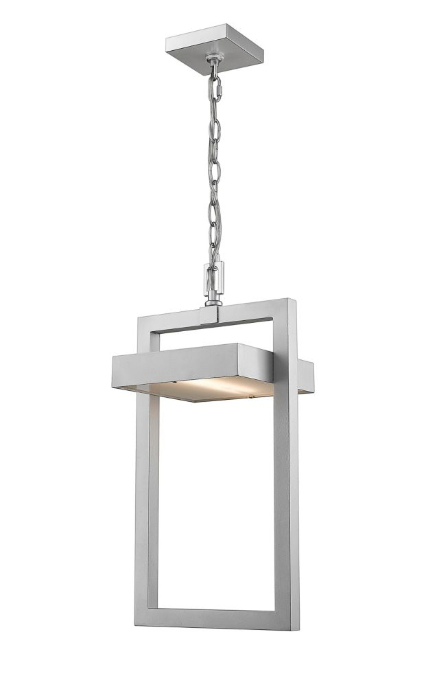 Filament Design 1-Light Silver Outdoor Pendant with Frosted Glass - 10.5 inch
