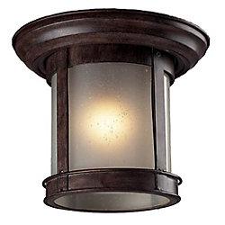 Filament Design Plafonnier extérieur à 1 ampoule au fini bronze patiné et vitre blanche - 9,75 po
