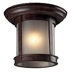 1-Light Weathered Bronze Outdoor Flush Ceiling Mount Fixture with White Seedy Glass - 9.75 inch