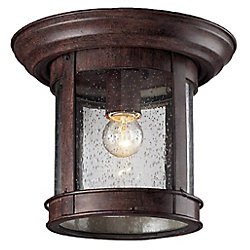 Filament Design 1-Light Weathered Bronze Outdoor Flush Ceiling Mount Fixture with Clear Seedy Glass - 9.75 inch