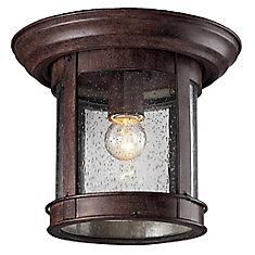 Plafonnier extérieur à 1 ampoule affleurante au fini bronze patiné avec verre à gouttes transparent, 9,75 pouces