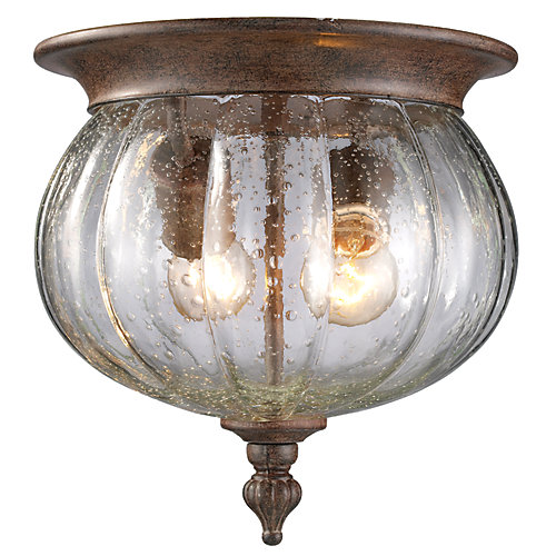 2-Light Weathered Bronze Outdoor Flush Ceiling Mount Fixture with Clear Seedy Glass - 10 inch