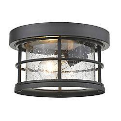 Filament Design Plafonnier encastré extérieur noir à 1 ampoule avec verre à gouttes transparent