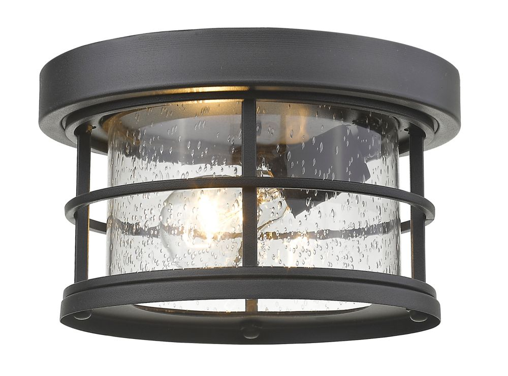 Filament Design 1-Light Black Outdoor Flush Ceiling Mount Fixture with Clear Seedy Glass - 10 inch