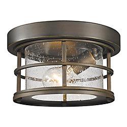 Filament Design Plafonnier extérieur affleurant à 1 ampoule au fini bronze huilé avec verre à gouttes transparent - 10 pouces