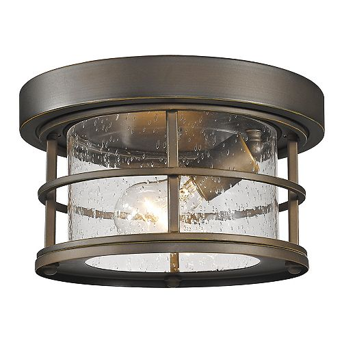 Filament Design 1-Light Oil Rubbed Bronze Outdoor Flush Ceiling Mount Fixture with Clear Seedy Glass - 10 inch