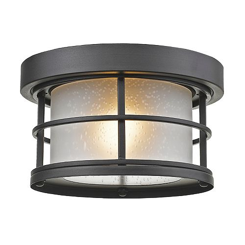 Filament Design 1-Light Black Outdoor Flush Ceiling Mount Fixture with White Seedy Glass - 10 inch