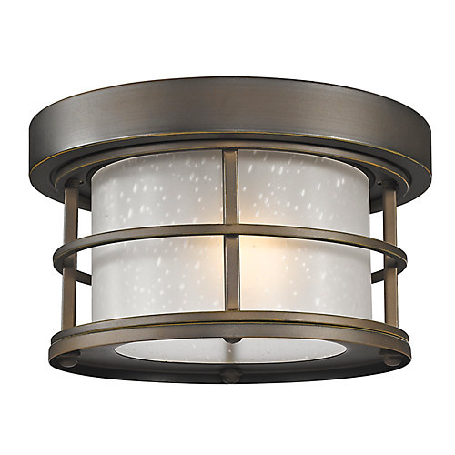 1-Light Oil Rubbed Bronze Outdoor Flush Ceiling Mount Fixture with White Seedy Glass - 10 inch