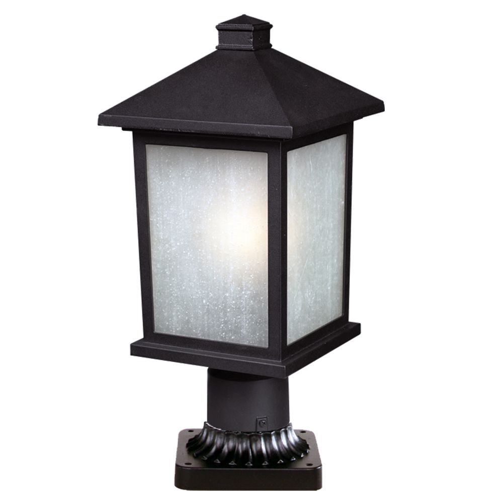 Filament Design 1-Light Black Outdoor Pier Mount Light with White Seedy Glass - 9.25 inch