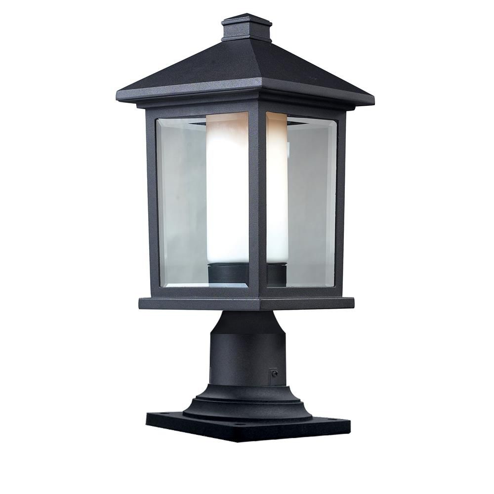 Filament Design 1-Light Black Outdoor Dimmbale Pier Mount Light with Clear Beveled and Matte Opal Glass - 8 inch