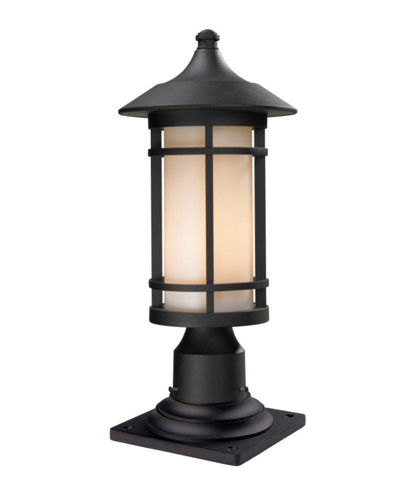 Filament Design 1-Light Black Outdoor Pier Mount Light with Matte Opal Glass - 8.125 inch