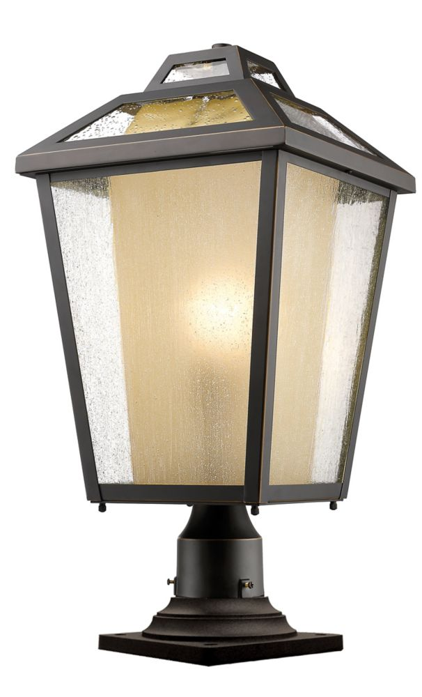 Filament Design 1-Light Oil Rubbed Bronze Outdoor Pier Mount Light with Clear Seedy and Tinted Glass - 11 inch