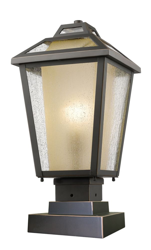 Filament Design 1-Light Oil Rubbed Bronze Outdoor Pier Mount Light with Clear Seedy and Tinted Glass Shade