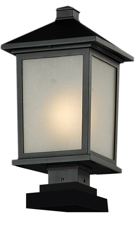 Filament Design 1-Light Black Outdoor Pier Mount Light with White Seedy Glass - 9.5 inch