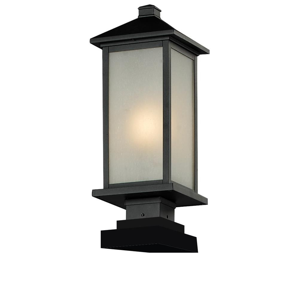 Filament Design 1-Light Black Outdoor Pier Mount with White Seedy Glass - 8 inch