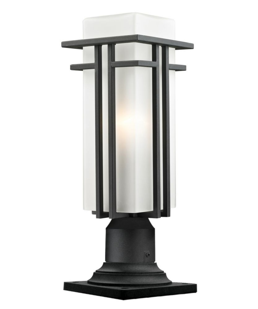Filament Design 1-Light Black Outdoor Pier Mount with Matte Opal Glass - 6.63 inch