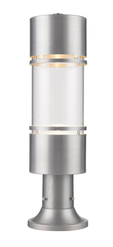 Filament Design 1-Light Brushed Aluminum Shade Outdoor Pier Mount Light with Clear Glass - 6 inch