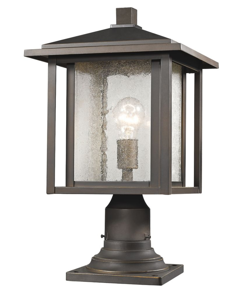 1-Light Oil Rubbed Bronze Outdoor Pier Mount Light with Clear Seedy Glass - 11 inch