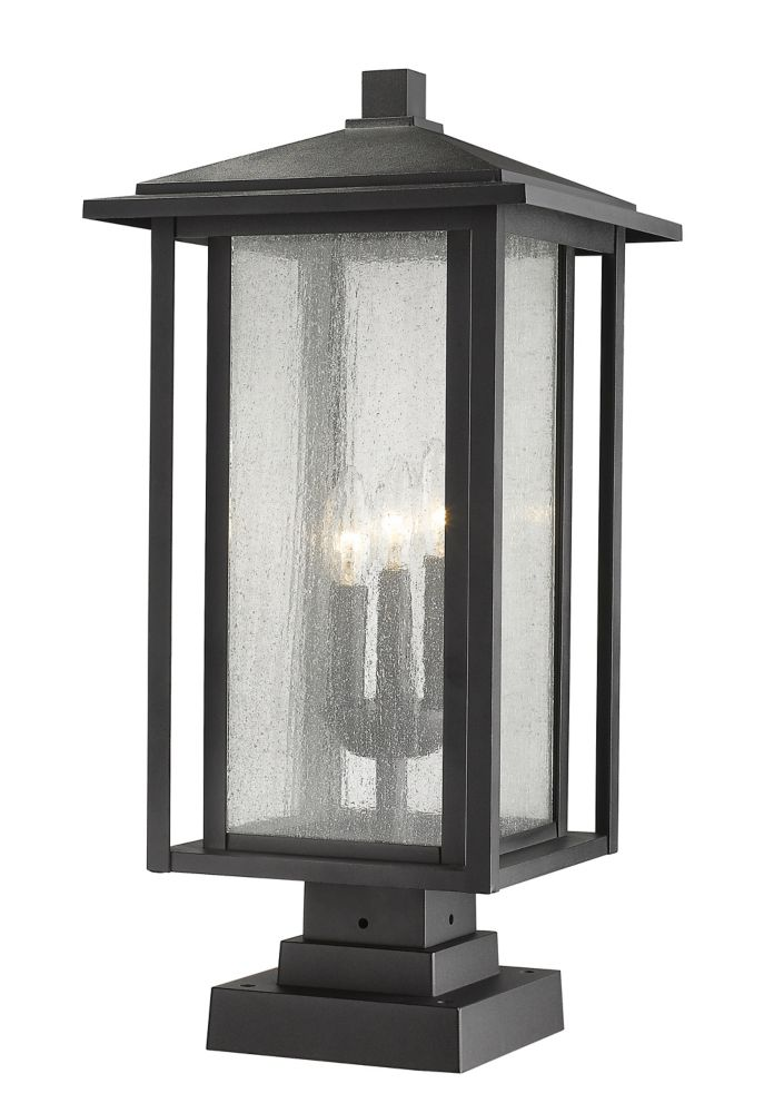 Filament Design 3-Light Black Outdoor Pier Mount with Clear Seedy Glass - 11 inch