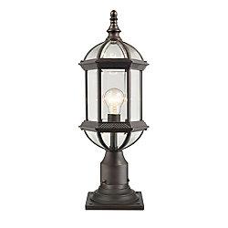 Filament Design 1 lumière rouille pour montage extérieur de pilier avec verre biseauté clair
