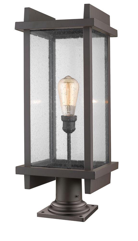 Filament Design 1-Light Deep Bronze Outdoor Pier Mount Light with Clear Seedy Glass - 10 inch