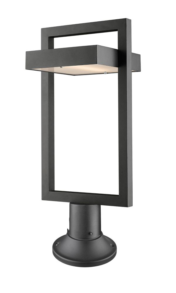 Filament Design 1-Light Black Outdoor LED Pier Mount Light with Frosted Glass - 10.5 inch