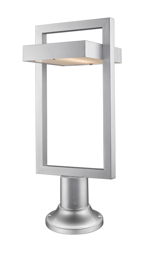 Filament Design 1-Light Silver Outdoor LED Pier Mount Light with Frosted Glass - 10.5 inch