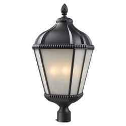 Filament Design 4-Light Black Outdoor Post Mount Light with White Seedy Glass - 13 inch