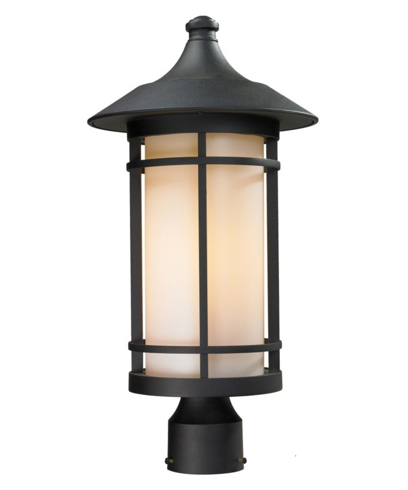 Filament Design 1-Light Black Outdoor Dimmable Post Mount Light with Matte Opal Glass - 10 inch