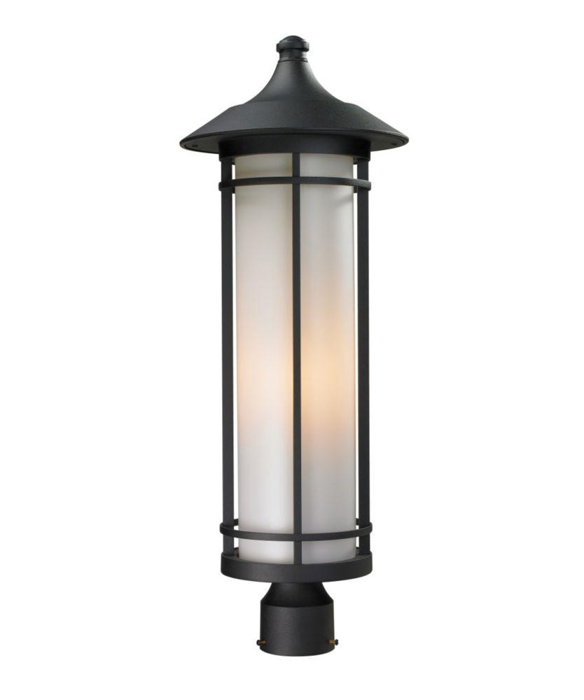 Filament Design 1-Light Black Outdoor Post Mount Light with Matte Opal Glass - 10 inch
