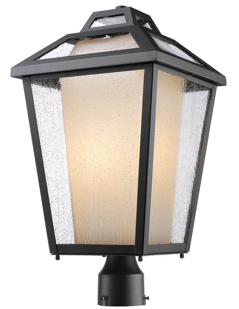 Filament Design 1-Light Black Outdoor Post Mount Light with Clear Seedy and Matte Opal Glass - 11 inch