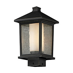 Filament Design Lampadaire extérieur à 1 ampoule d'extérieur au fini bronze huilé avec verre transparent à ailettes et opale mat