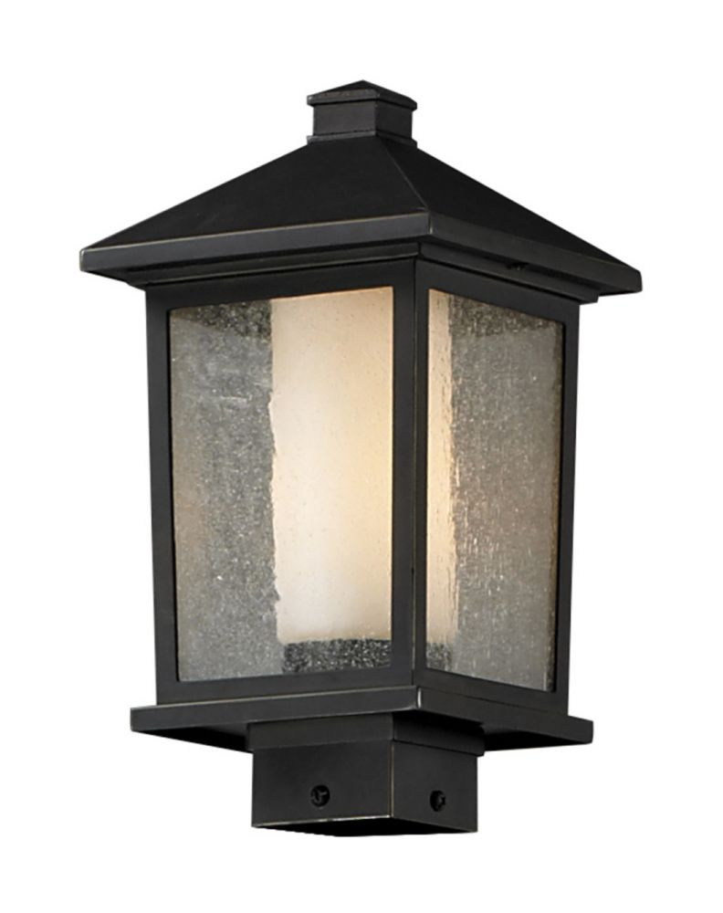 Filament Design 1-Light Oil Rubbed Bronze Outdoor Post Mount Light with Clear Seedy and Matte Opal Glass