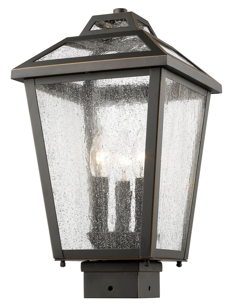 Filament Design 3-Light Oil Rubbed Bronze Dimmable Outdoor Post Mount with Clear Seedy Glass
