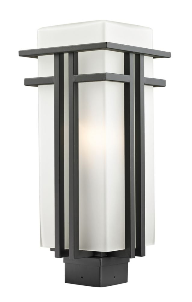 1-Light Outdoor Rubbed Bronze Outdoor Post Mount Light with Matte Opal Glass - 7.75 inch
