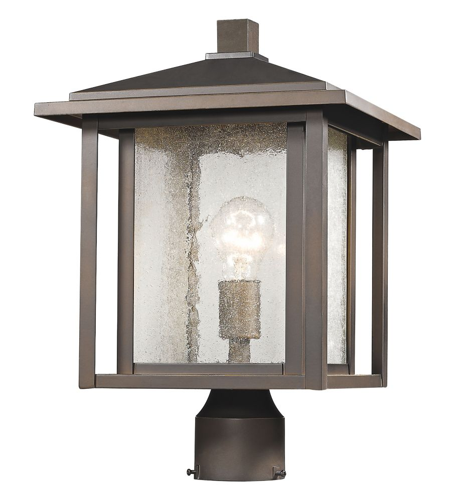 Filament Design 1-Light Oil Rubbed Bronze Outdoor Dimmable Post Mount Light with Clear Seedy Glass - 11 inch