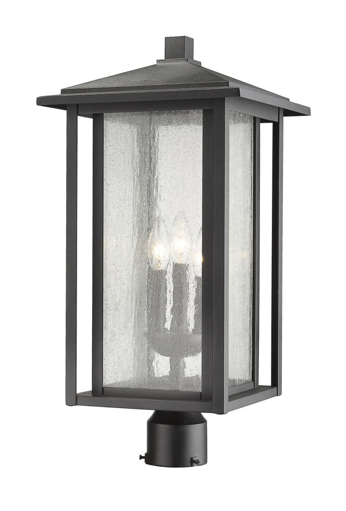 Filament Design 3-Light Black Outdoor Dimmable Post Mount Light with Clear Seedy Glass - 11 inch