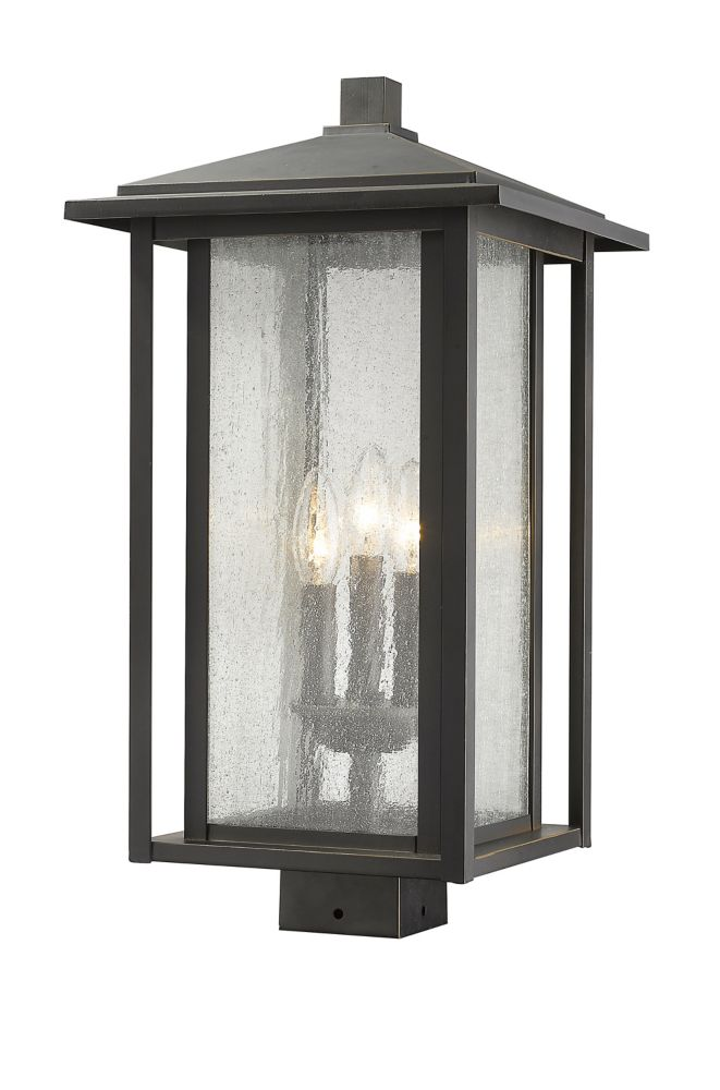 3-Light Oil Rubbed Bronze Outdoor Dimmable Post Mount Light with Clear Seedy Glass