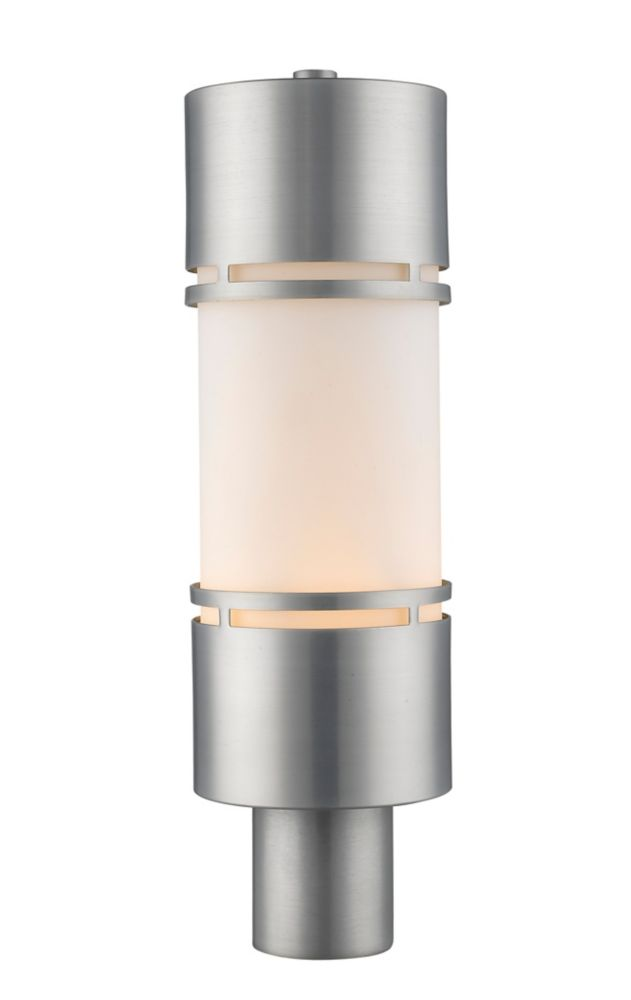 Filament Design 1-Light Brushed Aluminum Shade Outdoor Post Mount Light with Matte Opal Glass - 5.88 inch