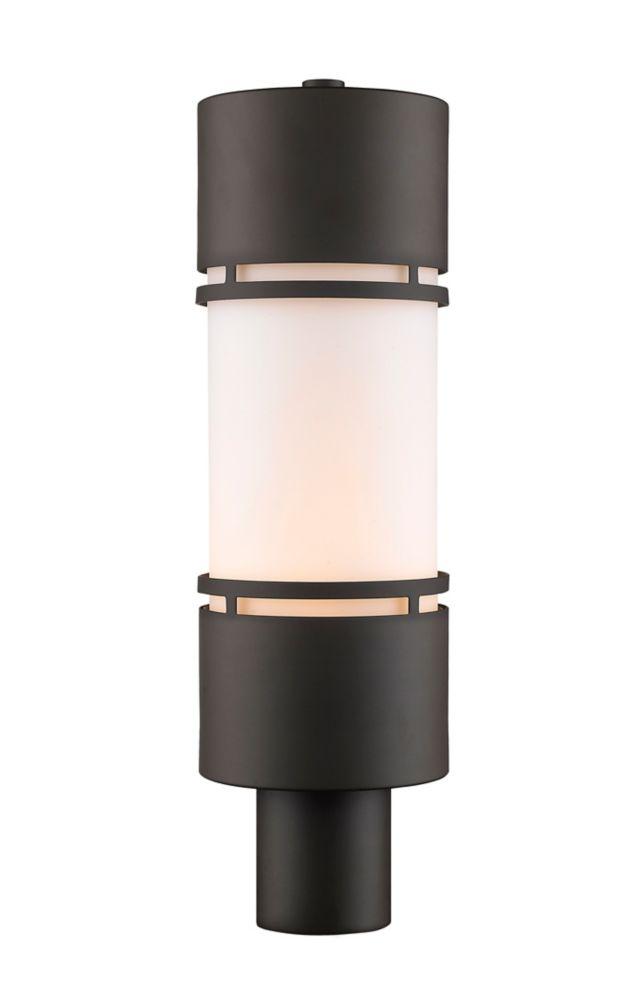 Filament Design 1-Light Deep Bronze Outdoor Post Mount Light with Matte Opal Glass - 5.88 inch