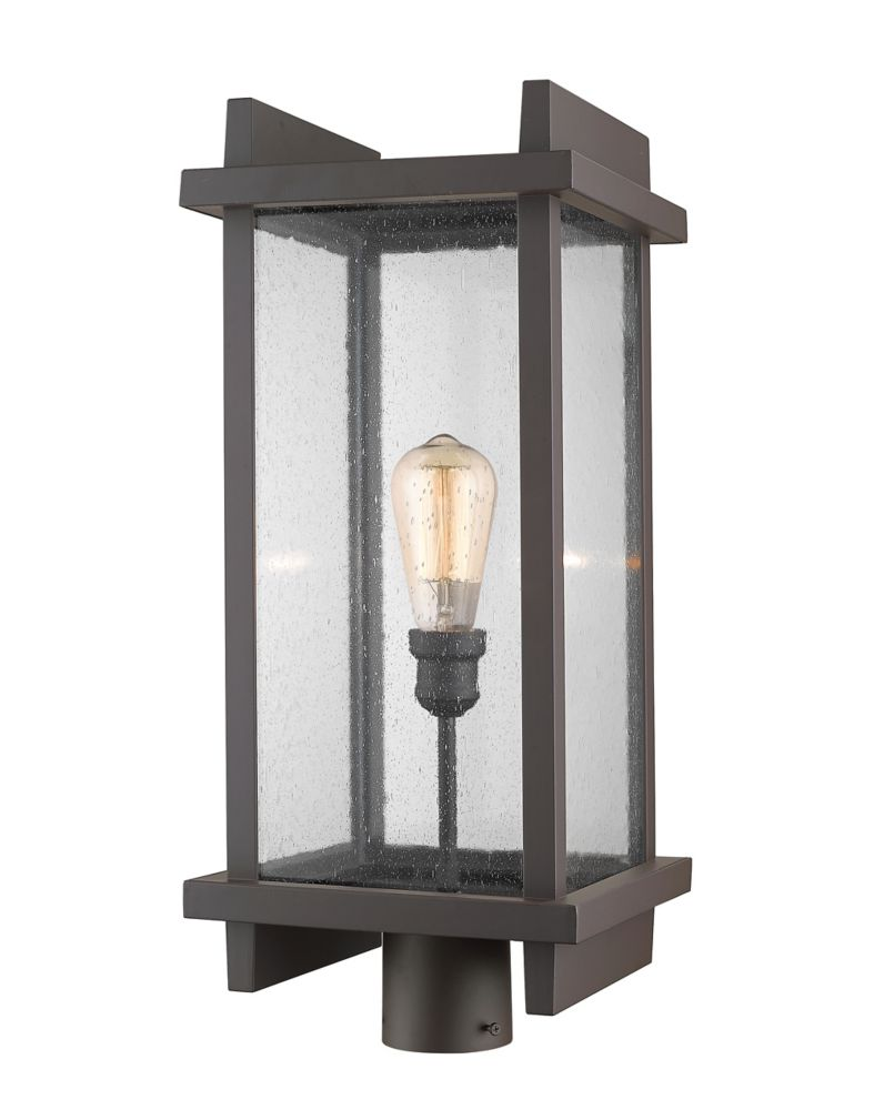 Filament Design 1-Light Deep Bronze Outdoor Post Mount Light with Clear Seedy Glass Shade - 10 inch