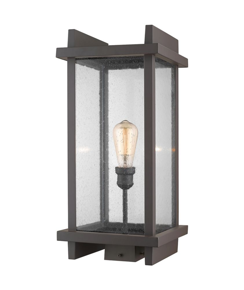 Filament Design 1-Light Deep Bronze Outdoor Post Mount Light with Clear Seedy Glass Shade